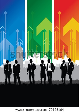 business people on an abstract arrow cityscape background