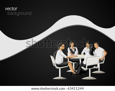 Business people on black background