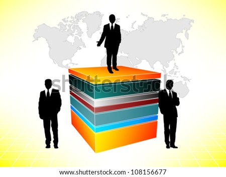Business people on cube - stock vector