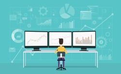 business people on monitor  analyze  report graph and investment plan concept