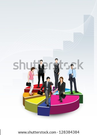 Business people on pie chart, abstract background. EPS 10.