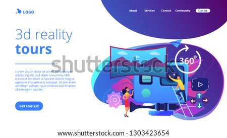 Business people on virtual reality tour 360 watching beautiful landscape and a camera. Virtual tour, 3d reality tours, virtual reality walk concept. Website vibrant violet landing web page template.