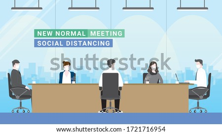Business people 5 persons meeting lifestyle after pandemic covid-19 corona virus. New normal is social distancing and wearing mask. Distance concept in office conference room. Flat style vector.