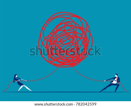 Business people pulling at tangled rope in opposite directions. Concept business vector illustration.