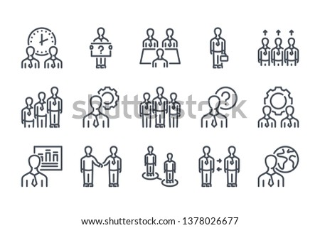 Business people related line icon set. Meeting and appointment linear icons. Business management outline vector sign collection.