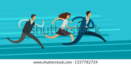 Business people run. Competition, rivalry, goal achievement concept. Vector illustration