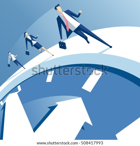 business people run on the white clock, businessmen try to outrun time. business concept of time pressure and race against time vector illustration