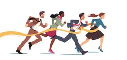 Business people run race crossing finish line ribbon. Team leader finish first. Businessperson man, woman colleagues win race competition achieving success. Leadership concept flat vector illustration