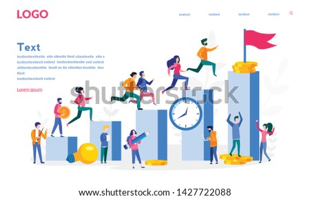 Business  people run to their goal on the column of columns, motivation, business competition, Competitive Process in Business. Achieve Goal. move up vector illustration for web, print, social media.
