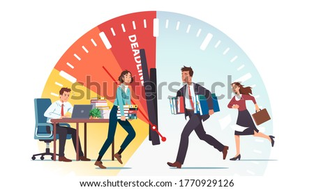 Business people running against deadline clock. Business man & woman company team work hard in rush to finish project in time. Carrying documents, typing on laptop. Flat vector character illustration