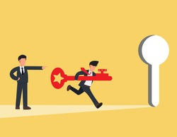 Business people running and carrying key to unlock keyhole.opportunity for career path or goal achievement concept.