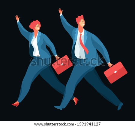 Business people running and waving their hands in greeting. Cartoon male and female characters with briefcases, wearing business clothes. Vector illustration
