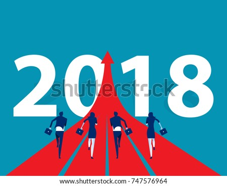 Business people running to 2018. Concept business success vector illustration. Flat design style.