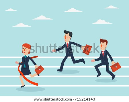 Business people running to finish line. Concept of business competition