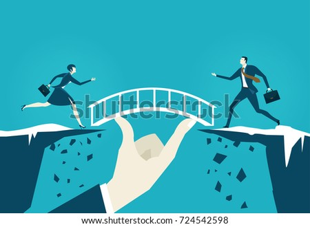 Business people running towards the safe bridge from the falling canyons. Opportunity and taking a risk concept illustration.
