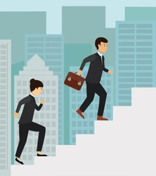 Business people running up the stairs, employees climb up the high stairs, success and career growth concept illustration vector.