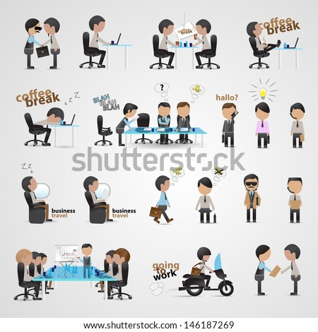 Business People Set - Isolated On Gray Background - Vector Illustration, Graphic Design Editable For Your Design. Team Working In Office.