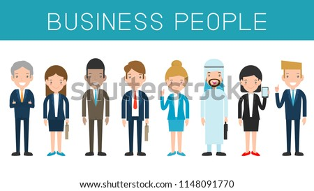 Business people, Set of diverse business people isolated on white background. Different nationalities,Cute and simple flat cartoon style Vector Illustration.