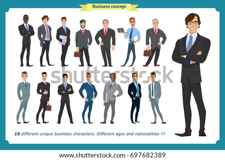 Business people set of men in suits isolated vector on a white.beard styling stylish hairstyle office.People character set in various poses different nationalities.flat cartoon . businessman.Teamwork.