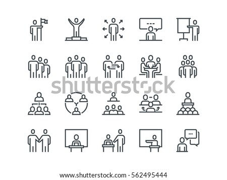 Business people. Set of outline vector icons. Contains such Icons as Business Meeting, Handshake, Agreement, One on One Meeting and more. #562495444