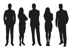 Business people, set of vector silhouettes