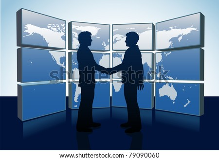 Business people shake hands agreement and world map monitors