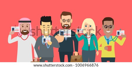 business people showing  identification badge