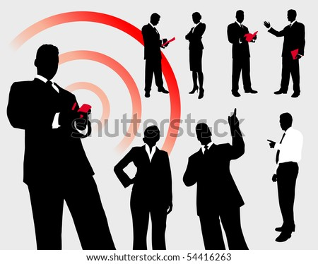 Business People Silhouette Collection Original Illustration - stock vector
