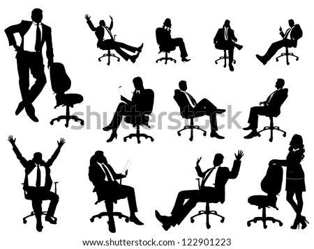 Business people silhouette with office chairs