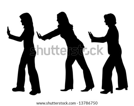 business people silhouettes pushing something up isolated over a white background