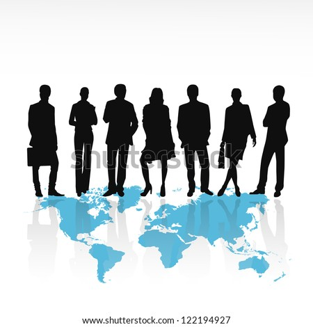 Business people silhouettes standing on world map isolated on white background - Vector illustration
