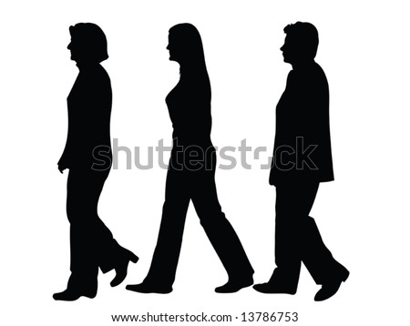 business people silhouettes walking from side to side isolated over a white background