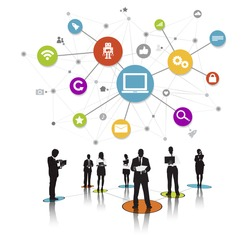 Business People Silhouettes Working and Network Concept Vector