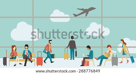 Business people sitting and walking in airport terminal, business travel concept. Flat design.