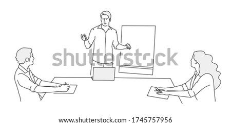 Business people sitting at a table keeping social distance. Man stands near blackboard and tells people sitting at table. Line drawing vector illustration.
