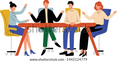 Business People Sitting at Desk and Discussing Project, Brainstorming, Colleagues Working Together in Office, Communication Between Coworkers Vector Illustration