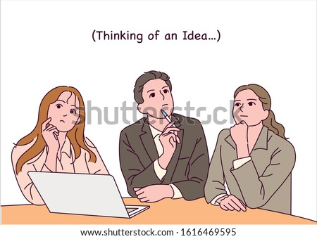 Business people sitting at the table and looking up, pensive. Facial expression thinking idea. hand drawn style vector design illustrations.