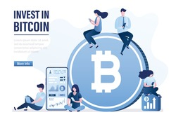 Business people sitting near big bitcoin. Successful investors invest in bitcoin. Blockchain technology, investment process. Traders makes money. Landing page template. Flat vector illustration