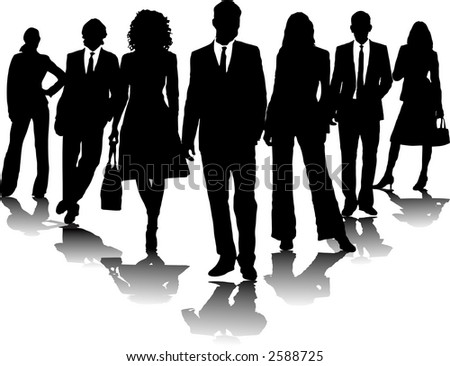 Business People Standing in an Arrow Formation