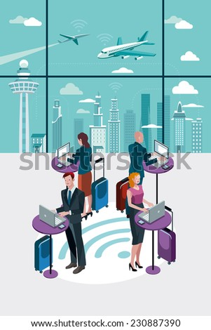 business people standing using