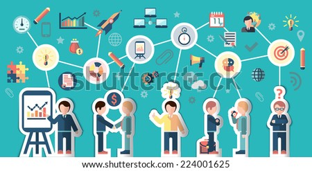Business people stickers businessman cartoon characters and communication elements concept vector illustration