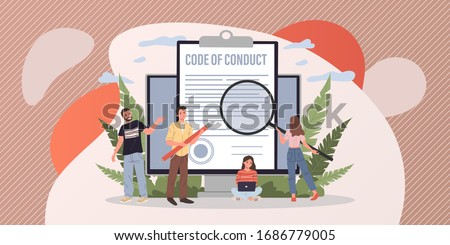 Business people studying code of conduct paper vector illustration. Office people working on company ethical integrity document on laptop screen. Code of business ethics and values