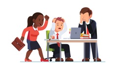Business people suffering loss due to managers mistake. Team emotional outburst, supervisor screaming anger, worker tearing hair, crying in despair looking at office laptop. Flat vector illustration