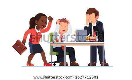 Business people suffering loss due to managers mistake. Team emotional outburst, supervisor screaming anger, worker tearing hair, crying in despair looking at office laptop. Flat vector illustration Stock foto ©