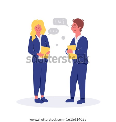 Business people talking and discussing. Businessmen discuss with speech bubble talk vector illustration.