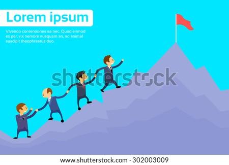 Business People Team Climbing Top Peak, Businesspeople Cartoon Group High Mountain Flat Vector Illustration
