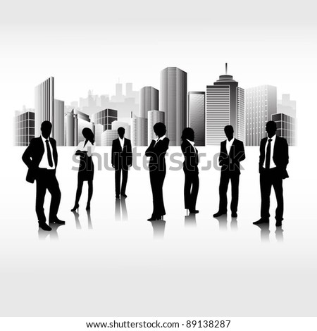 business people team in the city-vector