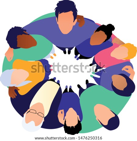 Business people team man & woman group hugging each other holding arms in circle and looking up together. Aerial top view. Teamwork, unity, togetherness. Flat vector character illustration
