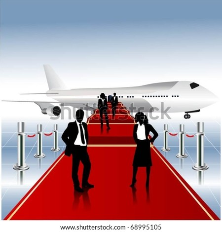 business people team on a red carpet-vector