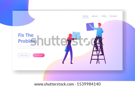 Business People Team Planning Events in Office Website Landing Page. Businesspeople Scheduling Work on Agenda Schedule Task Board with Sticky Notes Web Page Banner. Cartoon Flat Vector Illustration
